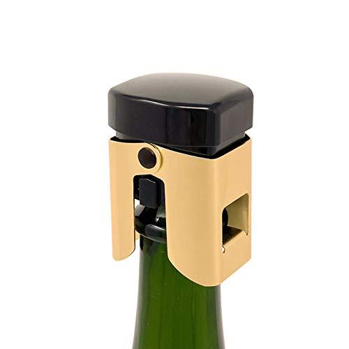 Amica. Bouchon pour Le Champagne. Parfaitement hermétique, il en Conserve la qualité Plusieurs Jours. Efficace, Aussi, pour Toutes Boissons effervescentes. Corps en métal doré. (Or/Noir-Qubi, 1)