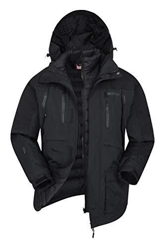 Mountain Warehouse Doudoune 3 en 1 Correspondent Homme - Manteau d'hiver rembourré, Imperméable, Respirant, Capuche Amovible, Poches - pour la Marche Noir XS