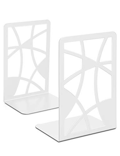 veecom Bookends, Book Ends, White Bookends for Shelves, Non Skid Metal Bookend Heavy Duty, Decorative Bookends for Heavy Books, Book End Shelf Holder for Kids, Book Stoppers for Office (White-1 Pair)