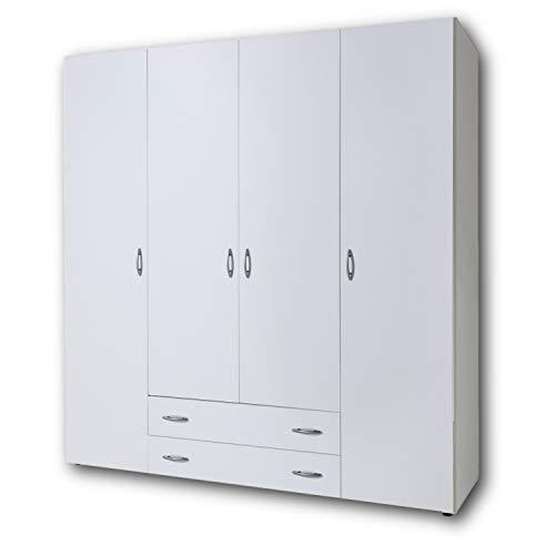 BASE Zeitloser Kleiderschrank in drei verschiedenen Größen - Vielseitiger Drehtürenschrank in Weiß - 160 x 177 x 52 cm (B/H/T)