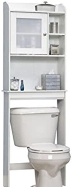 Over The Toilet Bathroom Shelf Free Standing Space Saving Cabinet Cubbyhole Storage With 5 Adjustable Shelf White Interior Decorating