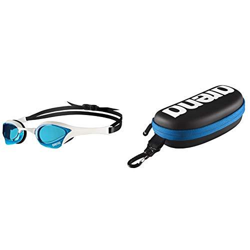 ARENA Cobra Ultra Gafas de Natación, Unisex Adulto, Azul/Blanco, Talla única + 000001E048-507 Estuche para Gafas de natación, Unisex Adulto, Negro/Blanco, Universal