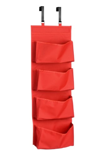 Premier Housewares 4 Tvaschen Über Tür Rot 4 Hängender Organisator, Polyester, 10x37x90