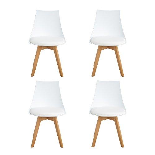 Homeinart Ajie Lot de 4 Chaise de Cuisine pour Salle à Manger Design scandinave avec Assise rembourrée avec Pieds en Bois de hêtre Massif - Blanc