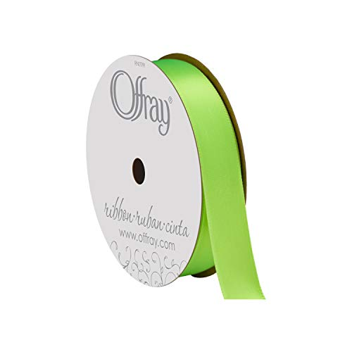 "Berwick Offray 848836 5/8"" Wide Single Face Satin Ribbon, Neon Green, 6 Yds"
