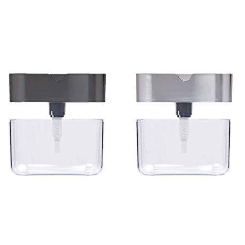 VEZARON Best Soap Dispenser for Kitchen + Sponge Holder 2-in-1 - Innovative Designed - Premium Quality Dish Soap Dispenser - Counter Top Sink Dispenser-New Stock Fast Shipment (Gray+Silver)