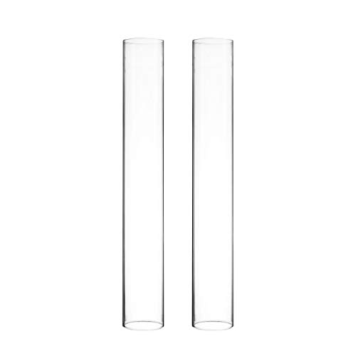 Glass Cylinder Open Both Ends Chimney Tube Glass Shade Candleholders Set of 2 Open Ended Hurricane CYS EXCEL Various Size Hurricane Candleholders Candle Shade 2.5 Wide x 18 Tall