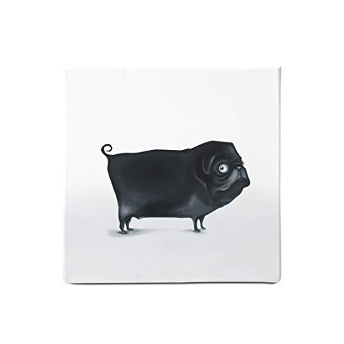 Der lustiger Mops - Gedruckt auf 100% Bio Baumwolle - Leinwandbild für Groß und Klein - Perfekt als Wanddeko fürs Wohnzimmer oder Kinderzimmer - Bilder schwarz weiß