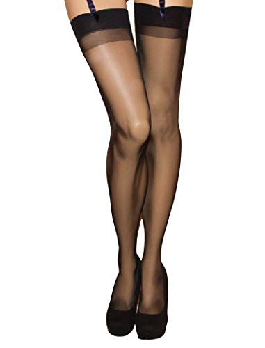 Trasparenze Sara All Sheer Stockings with Signature Logo -  Made in Italy  (Black, Large)