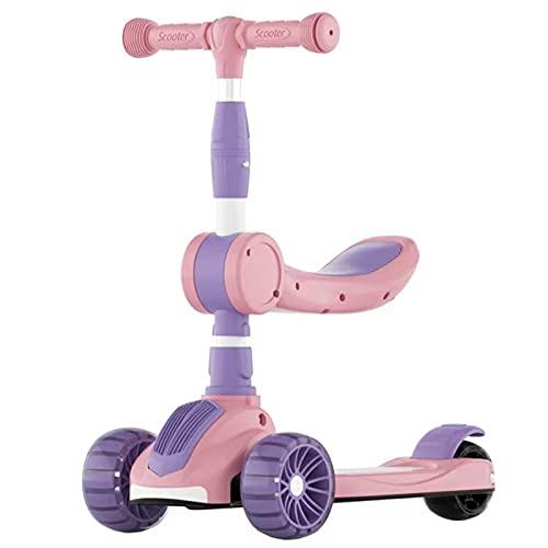 XYYZH Kick Scooter para niños, Scooter con Ruedas de iluminación Extra Anchas de PU y 4 Alturas Ajustables para niños de 3-12 años, con función de música y 3 Ruedas LED, Asiento extraíble,Rosado