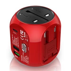 Sankoo Travel Adapter International Wall Charger Multiple Functional AC Plug with 6A Smart Power Quick Charge3.0 USB Type C for USA,UK,EU 160 Countries Red