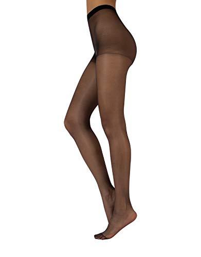 CALZITALY Damen Transparente Feinstrumpfhose | Alltag Strumpfhose Sommer | Beige, Schwarz | S, M, L, XL | 7 DEN | Made in Italy (L, Schwarz)