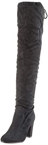 Damen Stiefel Schleifen Overknees Veloursleder-Optik Langschaftstiefel Boots Schuhe 130732 Schwarz Black 36 Flandell