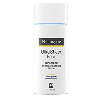 Neutrogena Ultra Sheer Liquid Daily Facial Sunscreen with Broad Spectrum SPF 70 Non-Comedogenic Oil-Free & PABA-Free Weightless UVA/UVB Sun Protection 1.4 fl oz