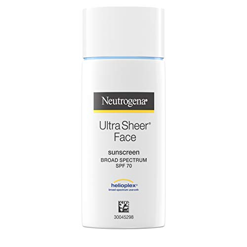 Neutrogena Ultra Sheer Liquid Daily Facial Sunscreen with Broad Spectrum SPF 70, Non-Comedogenic, Oil-Free & PABA-Free Weightless UVA/UVB Sun Protection, 1.4 fl. oz