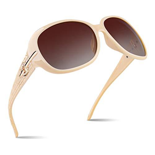 CGID Gafas de sol polarizadas de diseñador extragrandes para mujeres, Gafas de sol clásicas con marco grande Gafas de sol con protección UV, Marco en crema y con Lentes marrones M84