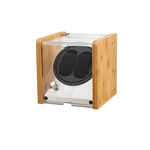 WRNM Cajas Giratorias para Relojes Enrollador Reloj Automático Doble Caja Exhibición Almacenamiento con Motor Silencioso para 2 Relojes De Pulsera