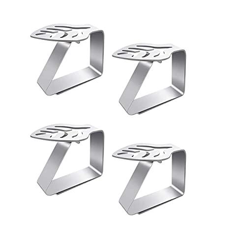 Pinza para Mantel,4 PCS Clip de Mantel con Diseño de Hoja Pinzas de Mesa Acero Inoxidable Pinzas Antideslizantes para Hogar Interior Exterior Picnic Barbacoa Boda Decoración