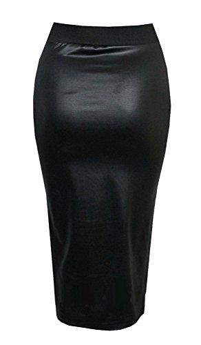 Damen Kunstleder Damen Elastischer Bund Bodycon Stretch Lack-optik Bleistift Enganliegend Rohr Midirock - Schwarz, 42-44
