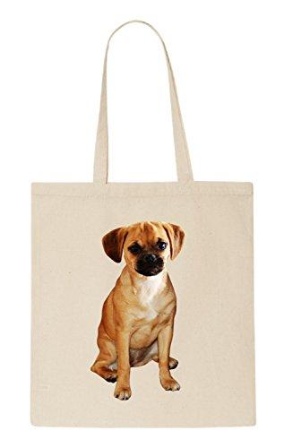 Puggle Dog Funny natürliche organische Tasche / natural organic Bag (Beige