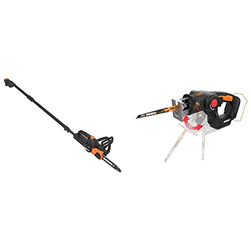 """WORX WG323 20V 10"""" Cordless Pole/Chain Saw with Auto-Tension, Black with WX550L.9 20V AXIS 2-in-1 Reciprocating Saw and Jigsaw with Orbital Mode, Variable Speed and Tool-Free Blade Change"""