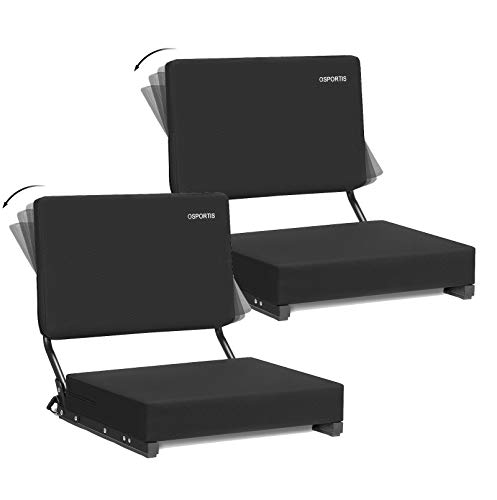 OSPORTIS Stadium Seats for Bleachers, Bleacher Seats with Padded Active Foam Backs and Cushion, Portable Stadium Seats with Back Support and Shoulder Strap,Active,Black, 2 Pack