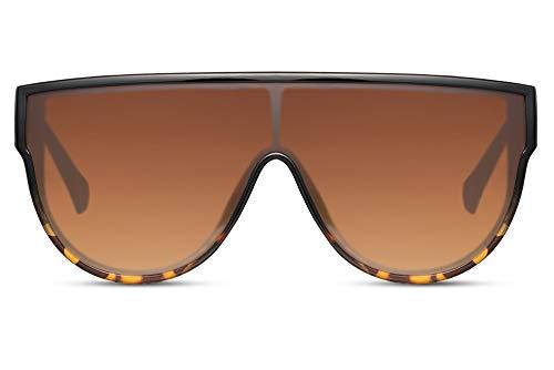 Cheapass Sonnenbrillen Schwarz Leopard Übergröße XXL Flattop mit einteiliggen Verlaufsgläsern in Braun UV400 Designer Schattierungen Frauen