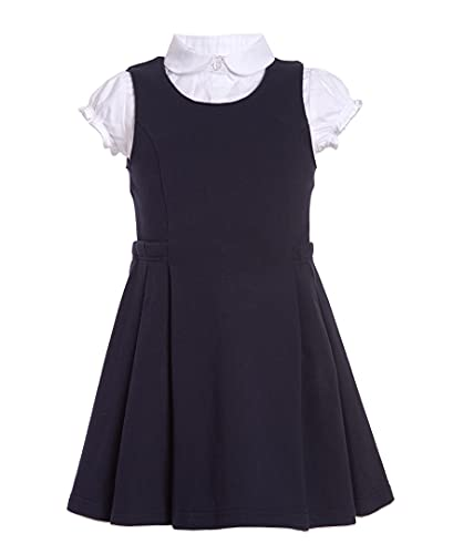 Nautica Girls Size' School Uniform Pleated Jumper Set, Navy, 16-18 Plus