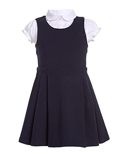 Nautica Girls' Big School Uniform Pleated Jumper Set, Navy, 8-10