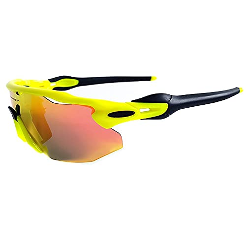 Mifty Gafas De Sol DeportivasHombres Y Mujeres, Gafas De Sol Deportivas con Lentes De Espejo, Gafas De Sol para Ciclismo, Carrera, Triatlón, Voleibol De Playa Y Senderismo (Color : Yellow)
