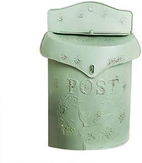 European style iron retro mailbox, sealed suggestion box, newspaper mailbox, Wedding Garden Decoration home mailbox post b...