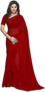 Whitewhale Bollywood Plain Chiffon Saree Traditional Party/Wedding Wear