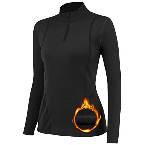 TERODACO Thermal Base Layer Women Warm Wicking Half Zip Ski Thermals with Micro Fleece Long Sleeve Ladies Thermal Tops for Running Hiking Cycling Soft Soft Quick Dry Breathable 02513 Black L