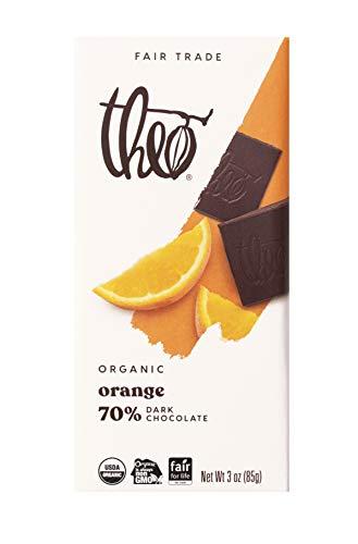 Theo Chocolate Orange Organic Dark Chocolate Bar, 70% Cacao, 12 Pack | Vegan Chocolate, Fair Trade