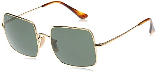 Ray-Ban RB1971 Square Classic Metal Sunglasses, Gold/Green, 54 mm