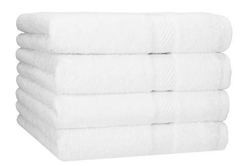 Betz Lot de 4 serviettes de bain draps de bain Palermo 70 x 140 cm 100% coton Couleur blanc