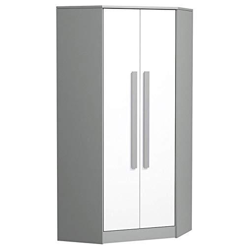 Furniture24 Eckkleiderschrank GIT 02 Drehtürenschrank, Eckschrank mit 6 Einlegeböden und Kleiderstange, Kleiderschrank für Jugendzimmer, Kinderzimmer (Anthrazit/Weiß/Grau)
