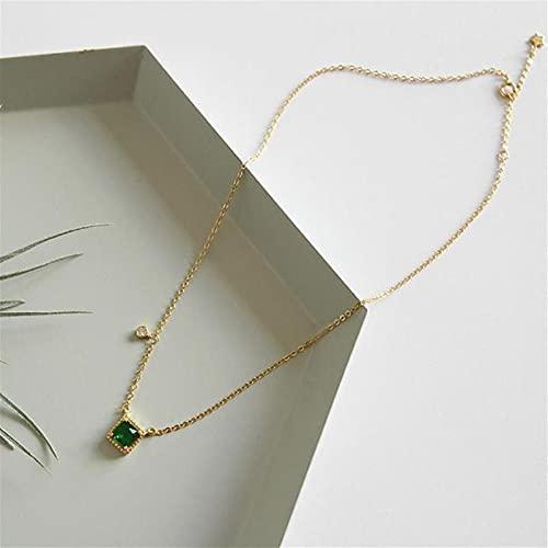 SPS Collar de Plata de Ley 925 para Mujer, Esmeralda Cuadrada, circonita cúbica, joyería Fina de Moda, Collares y Colgantes Simples de Oro