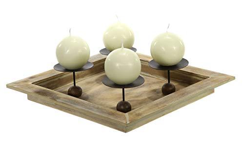 Spetebo Advents Kerzenhalter 32x32 cm - aus Holz und Metall Adventskranz Weihnachtsdekoration Tischdekoration