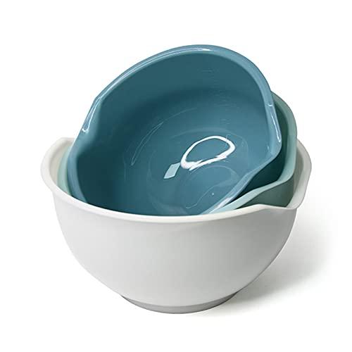 LLSL 3 PCS Sirviendo Cuencos, Cuencos de Mezcla de plástico con cochecitos, tazones de Almacenamiento de anidación Coloridos Antideslizantes Excelentes para cocinar/Hornear/Servir