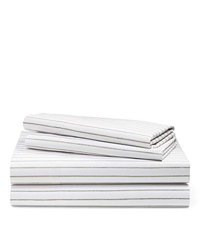 Ralph Lauren Queen Size Spencer Stripe Sateen Sheet Set Cotton 230 Thread Count Grey