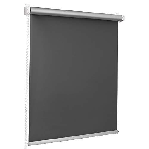 ROLLMAXXX Thermo Verdunkelungsrollo Klemmfix ohne Bohren (130 x 150 cm, Grau)