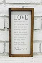Madi Kay Designs Love is Patient Love is Kind 1 Corinthians 13 Bible Verse Farmhouse Framed Wood Sign