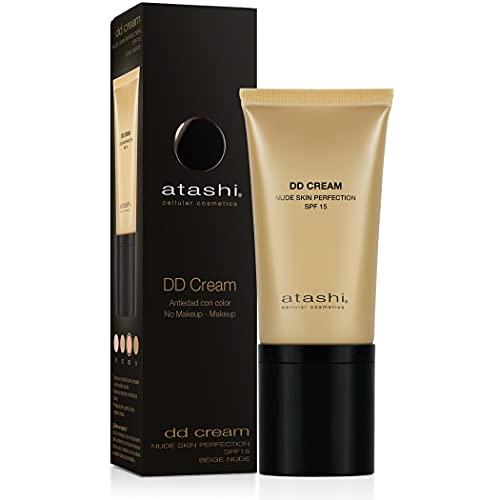Atashi DD Cream Antiedad | Tratamiento Antiedad con Color | No Makeup - Makeup | Atenúa Manchas y Minimiza Poros | Gardenia Jasminoide y Retinol | Airless | Tono Beige Nude | SPF15-50 ml