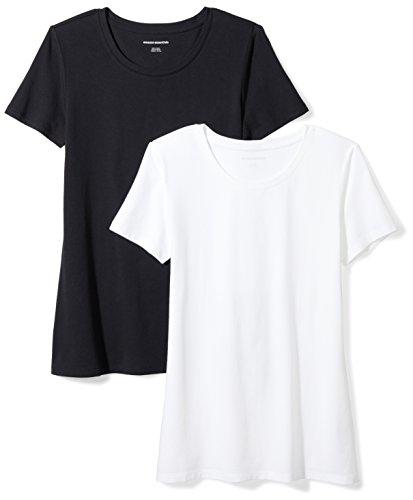 Amazon Essentials Women's 2-Pack Classic-Fit Short-Sleeve Crewneck T-Shirt, Black/White, Large