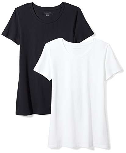 Amazon Essentials Damen-T-Shirt, klassisch, kurzärmlig, Rundhalsausschnitt, 2er-Pack, Schwarz (Black/White), Medium