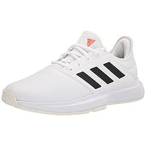 adidas Women's Gamecourt Tennis Shoe, White/Black/Solar Red, 8