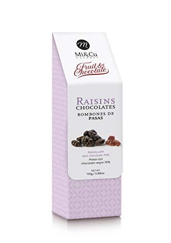Mi&Cu Gourmet - Bombones de Pasas 110 gr [Pack de 3] - Bombones de Pasas con chocolate negro 70%.