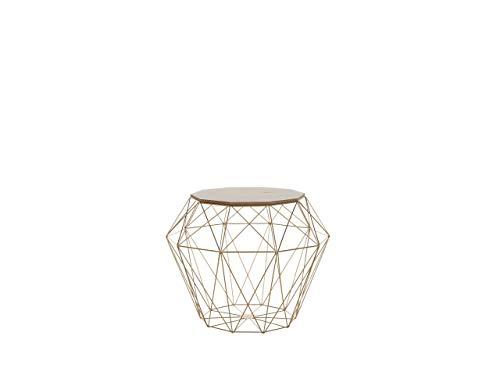 Beliani Modern Geometric Side Table Light Wood Table Top Gold Metal Base Elida
