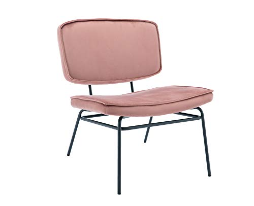 Shunzhi Modern Accent Chair Velvet Fabric with Black Metal Legs, Lounge Armless Ergonomics Back Dask Chair for Home Office/Study/Living Room/Vanity/Bedroom (Pink)